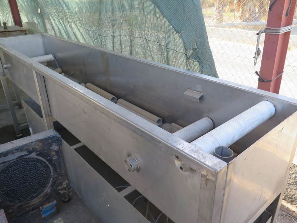 GT-2167 Bañera de hilos de 3 metros x 520 mm de ancho, de acero inoxidable con aspirador de secado d