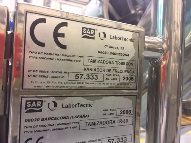 Tamizadora labortecnic tr-80 inox de segunda mano