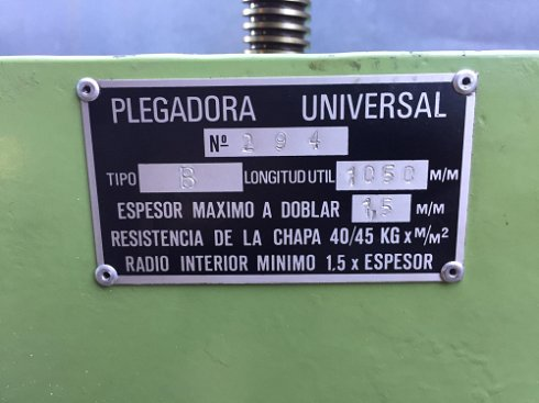 Plegadora manual  1000X1,5
