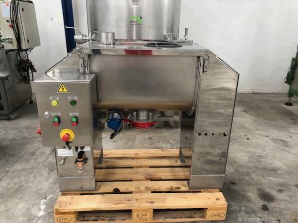 Mezcladora de bandas horizontal en acero inoxidable con capacidad de 100 litros