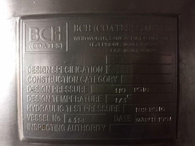 Mezclador bch coates acero inoxidable 90 litros con agitacion ancora y camisa