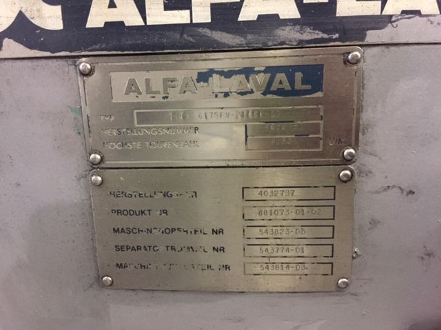 Centrifuga alfa laval brpx 617sfv-31cgl-50 de segunda mano