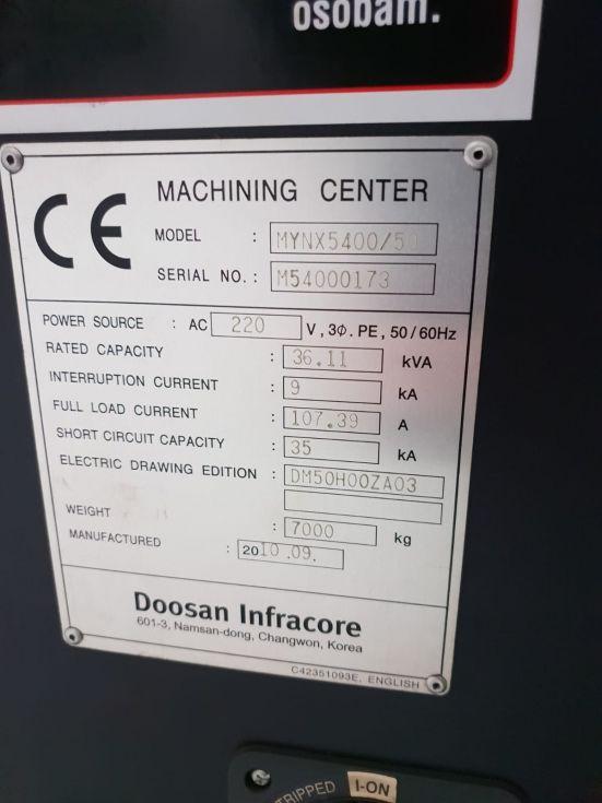 DOOSAN MYNX 5400 /50 X 1020 Y 540 Z 530 mm 4218 = Mach4metal
