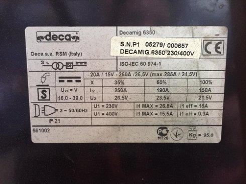 Soldadura de hilo  Modelo DECAMIG 6350