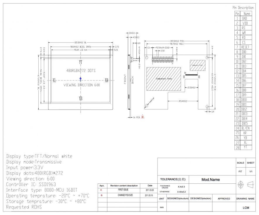 "Display TFT 4.3"" con panel táctil resistivo"