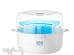 El esterilizador compact de Saro para microondas admite seis biberones de boca estándar o cuatro con todos sus complementos, y cuatro biberones de boca ancha o 3 con todos sus complementos. No requiere ningún producto adicional.