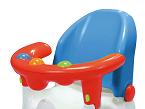 Saro presenta este soporte de baño con apertura múltiple y ventosas que lo sujetan firmemente, además de bolitas sonoras a modo de juego. El respaldo es reclinable y el diseño, ergonómico.