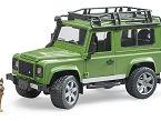 Todoterreno Land Rover con agente forestal y perro, BRUDER