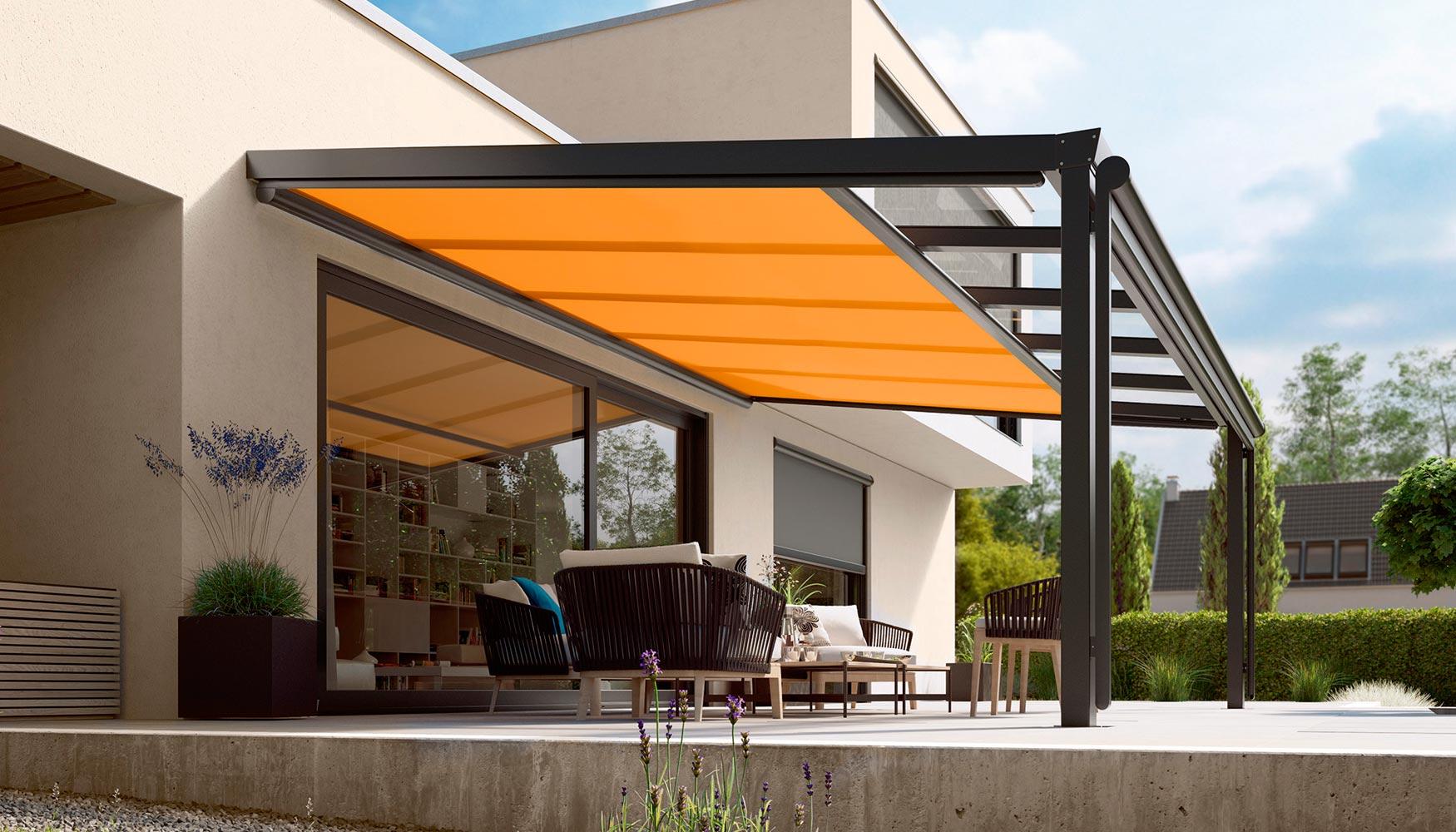 Nuevo toldo bajo estructura y toldo vertical de markilux for Estructura de aluminio para toldo