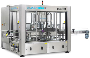 Máquina rotativa para etiquetar botellas tipo PET