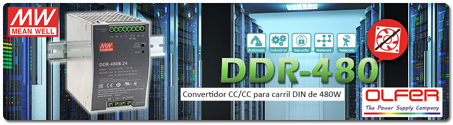 Convertidor CC/CC serie DDR-480 para carril DIN sin ventilador