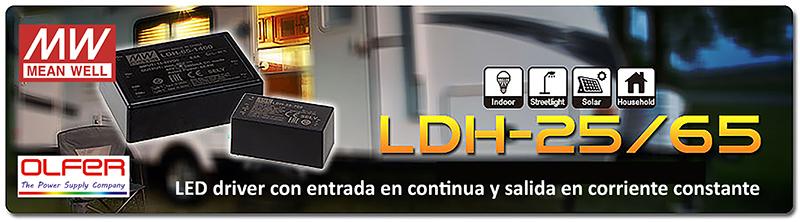 Led driver con entrada en continua y salida en corriente constante Series LDH-25 / 65