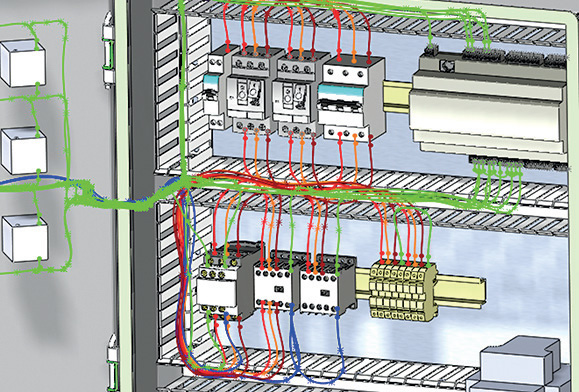 the electrical cupboard of a machine represented in 3d  photo: solidworks