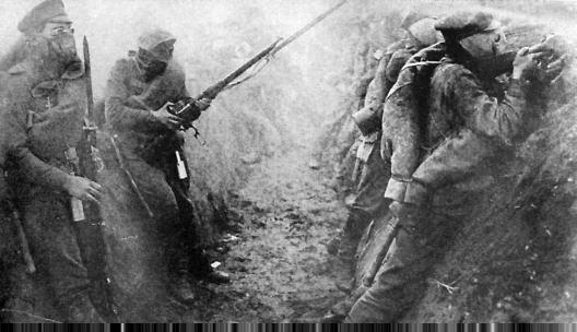 Ejército ruso en la trinchera, 1916
