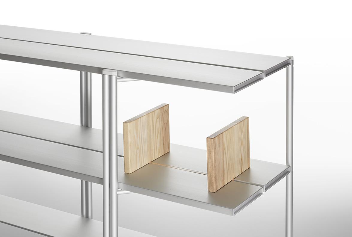 15. Emeco Run Aluminum Shelf with Ash Bookends