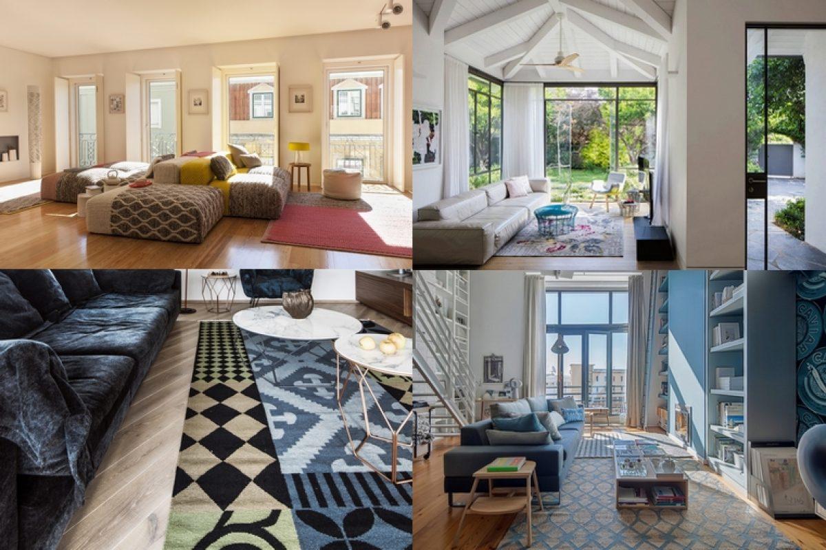 Cuatro salones con sello Gan Rugs. Proyectos de interiorismo excepcionales con accesorios que son a la vez cómodos y de diseño