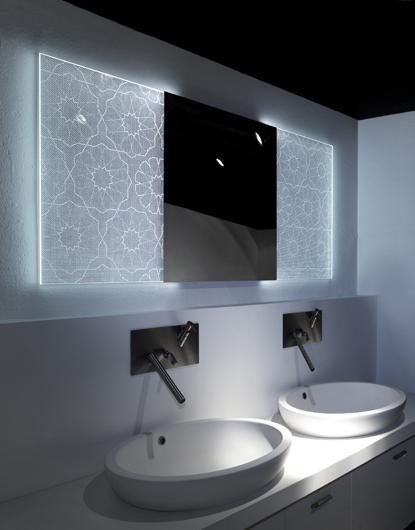Iluminacion Para Baños Turcos: marco piezas de cristal iluminados delineados mediante puntos de Led