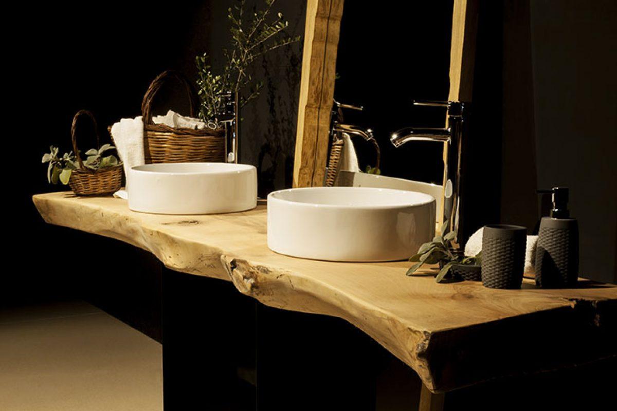Elia presenta encimeras de baño de madera maciza, piezas únicas e irrepetibles