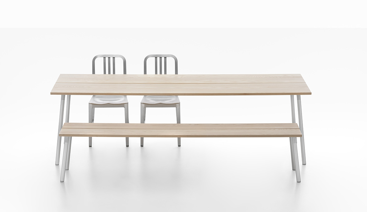 4. Emeco Run Ash Table and Bench with 1006 Navy Chairs