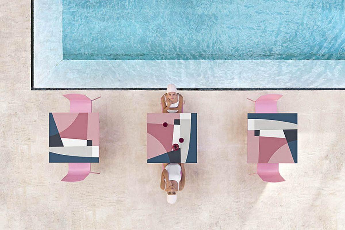 El característico trazo de Jonathan Lawes viste de grafismo la colección de mesas Abstrakt Mona de Diabla