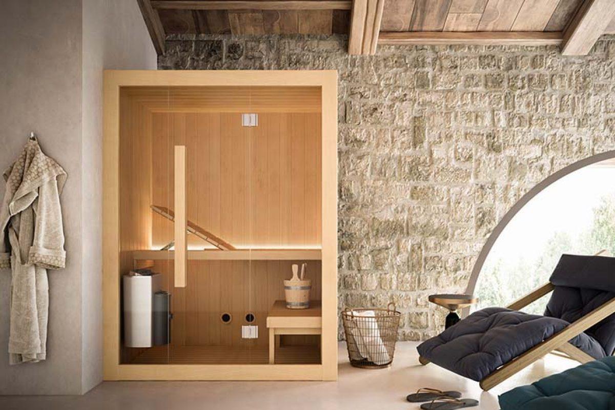 Sauna finlandesa Hoshi de Glass 1989, un diseño accesible, minimalista y lineal