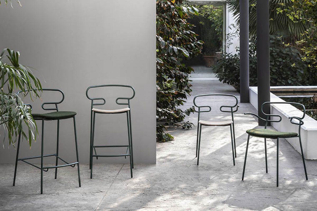 La ligereza estética de la colección de sillas Genoa de Trabà, ahora en versión para exteriores