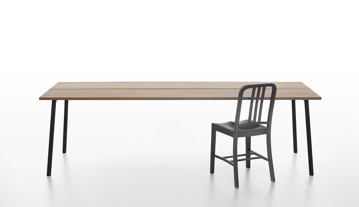 8. Emeco Run Cedar Table with 111 Navy Chair