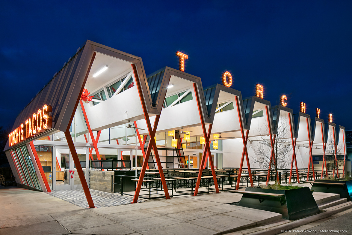 Torchy's Tacos on SoCo designed by Chioco Design with steel fabrication and construction by The Salinas Group.