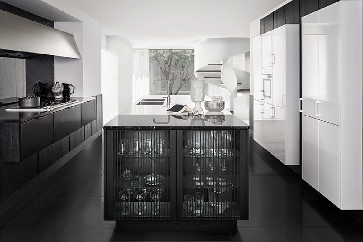 SieMatic Pure, la armonía de los contrastes en la cocina. Blanco y negro, mate y brillo, en madera, metal, laca y piedra