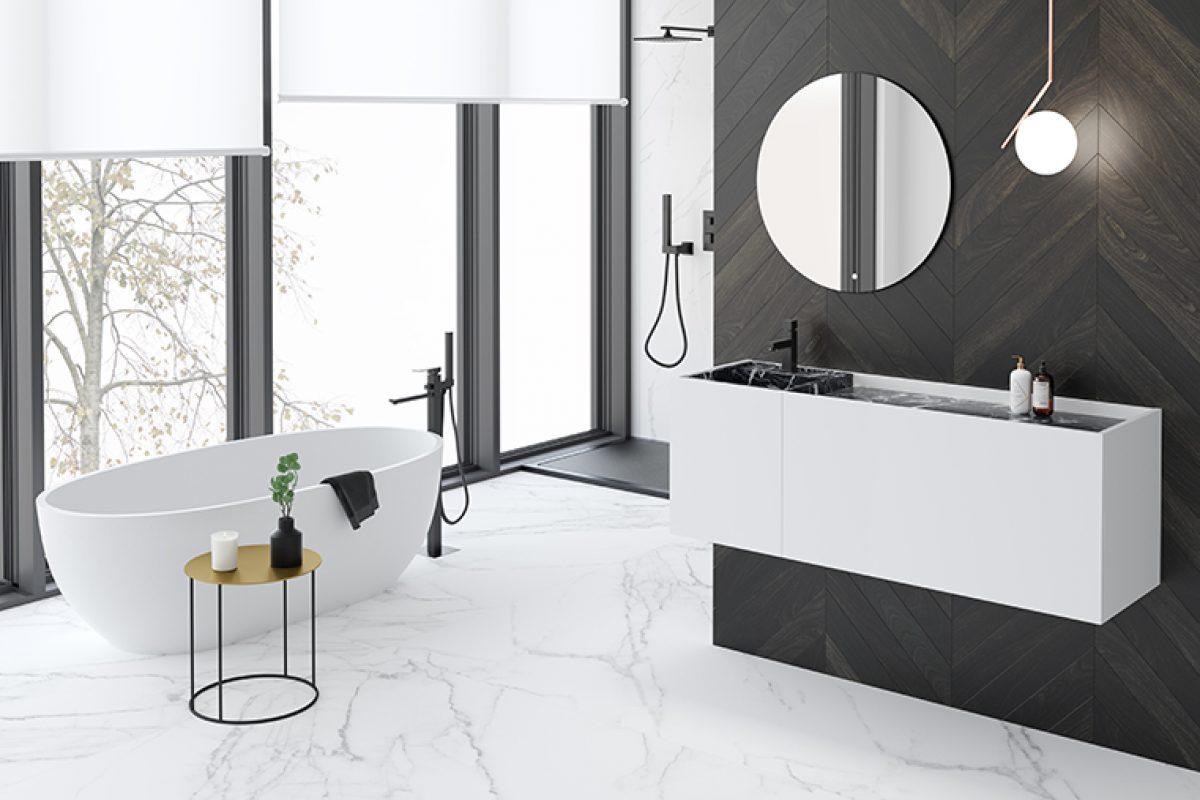 El lujo de los materiales naturales como el mármol se adapta al mueble de baño Roma de Nuovvo®