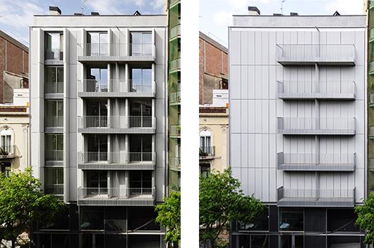 Un edificio de viviendas con fachada textil proyectado for Fachadas de viviendas
