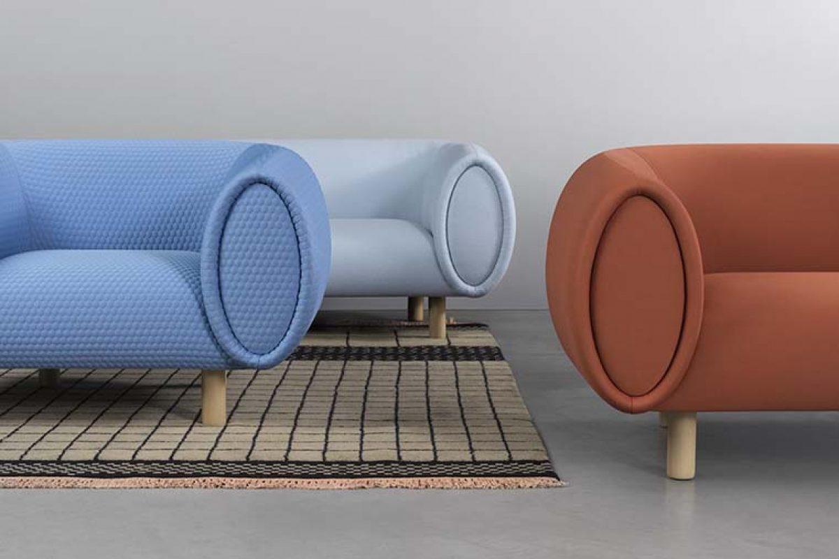 Elena Trevisan diseña Tobi para Rexite, un sofá considerable en volumen y sensual en forma