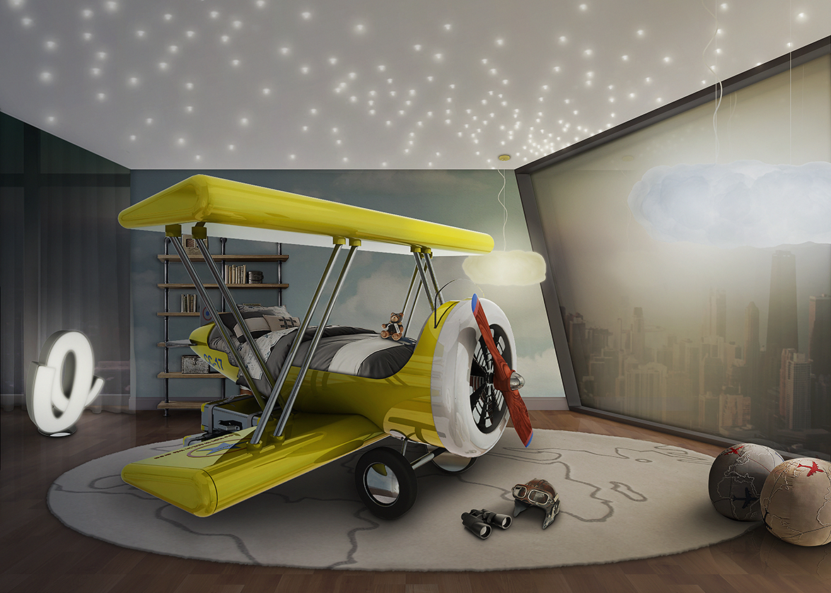 Flystastic airplane by circu themed bed for daring kids for Airplane bedroom ideas